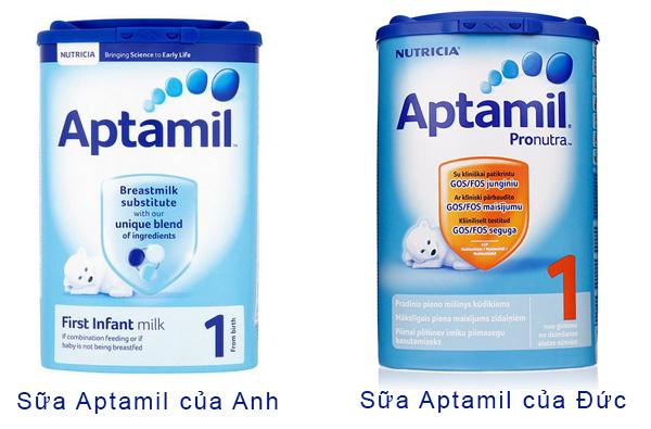 Nên cho con uống sữa bột Aptamil Anh hay Aptamil Đức.
