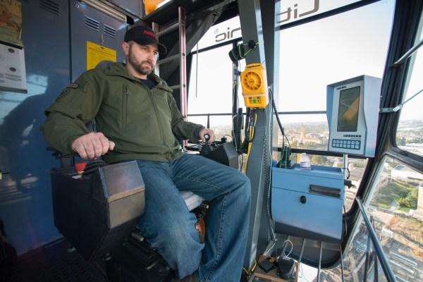 Weathering Heights Crane Operator Makes Climb