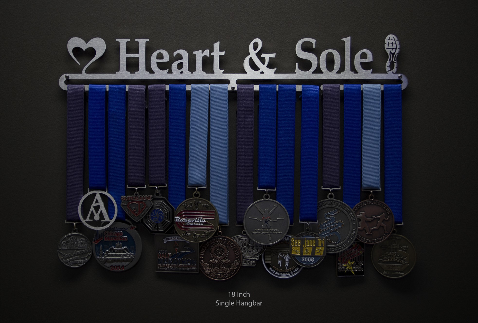 Heart And Sole  Sport  Running Medal Displays  The Original Stainless Steel Medal Display