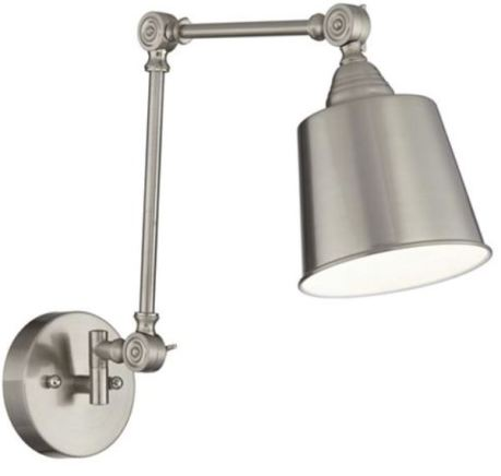 Mendes Swing Arm Wall Lamp - Brushed Steel (Lamps Plus)