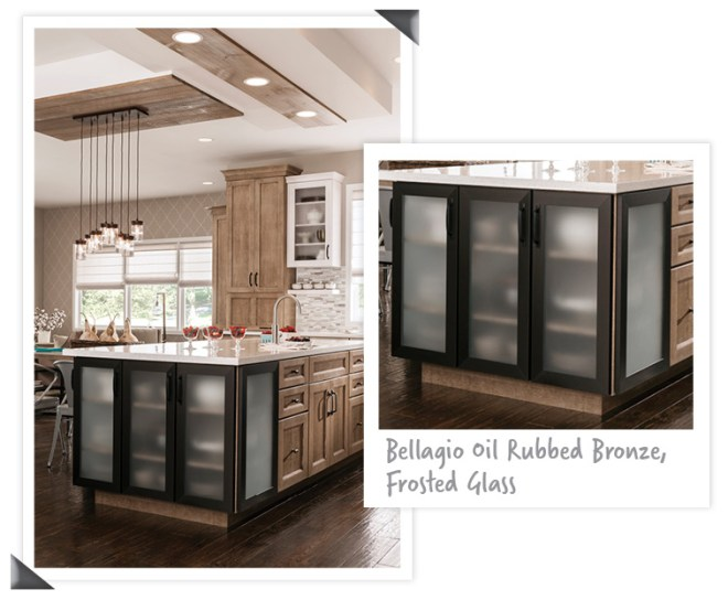Medallion Stockton FP QS oak Cappuccino_Bellagio Oil Rubbed Bronze_Frosted Glass