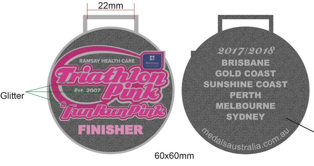 Medals Australia - Custom Designed Medals Artwork - Triathlon Pink