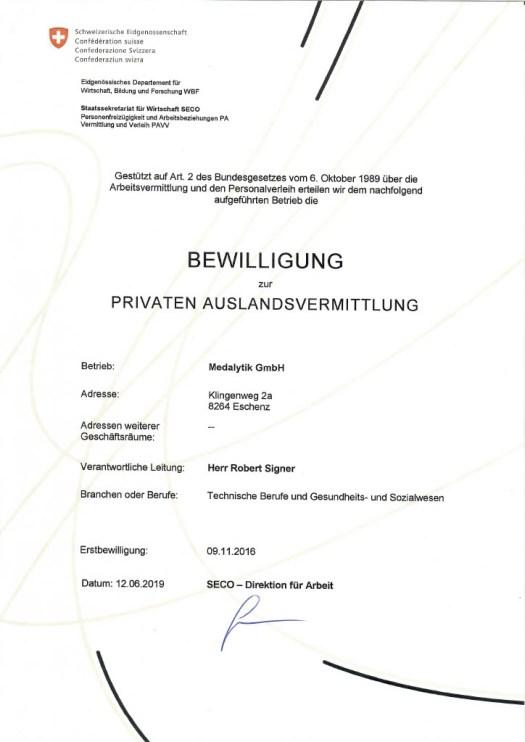 Bewilligung zur Auslandsvermittlung Seco