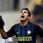 Eder merayakan gol Inter Milan ke gawang Empoli pada partai Liga Italia di Stadion Giuseppe Meazza, 12 Februari 2017.(MIGUEL MEDINA/AFP)