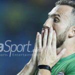 Penyerang Bhayangkara FC, Ilija Spasojevic, bereaksi pada lanjutan laga Liga 1 kontra Persipura Jayapura, 9 September 2017.(HERKA YANIS PANGARIBOWO/BOLA/BOLASPORT)