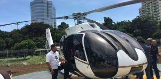 PT Whitesky Aviation meluncurkan helikopter yang bisa menjadi moda transportasi antar kota yakni Helicity, di Wisma Aldiron, Pancoran, Jakarta Selatan, Senin (4/12/2017). (KOMPAS.COM/Anggita Muslimah)