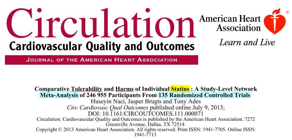[臨床藥學]高血脂治療藥物statins不良反應,耐受性比較   Med Data Speaks