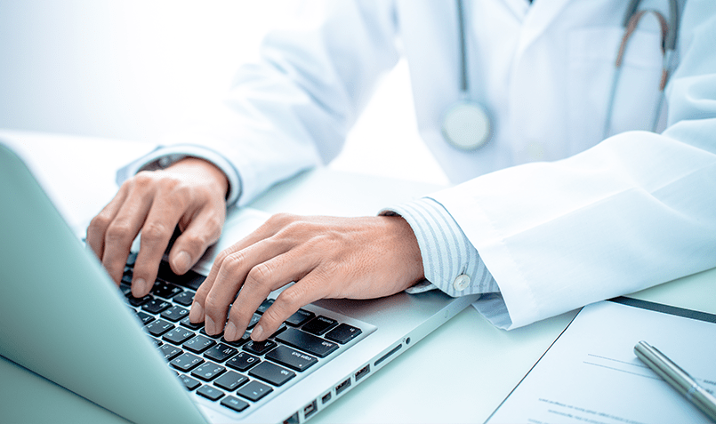 Doctor using the MedekRPM portal to monitor patients needs nationwide and provide instant care.