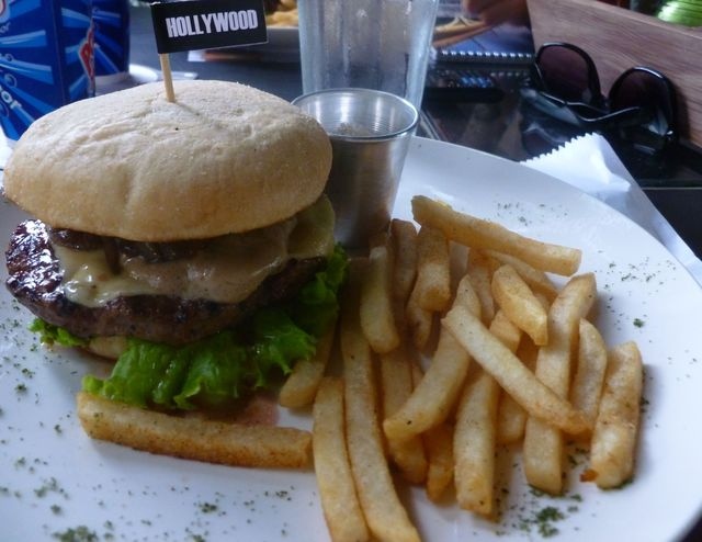 The Hollywood, a burger with caramelized onions and mushroom sauce, one of a handful of gourmet burgers at American Town.