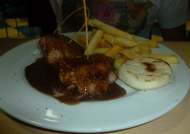 Grilled pork doused in some kind of soy-based sauce was a nice change of pace for a Colombian restaurant.
