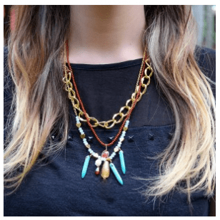 Colorful necklace that comes with matching earrings.