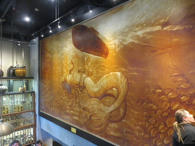"Large mural  – the ""Starbucks Siren"""
