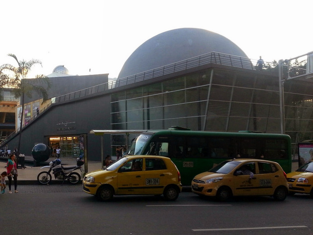View of the planetarium's dome from the street.