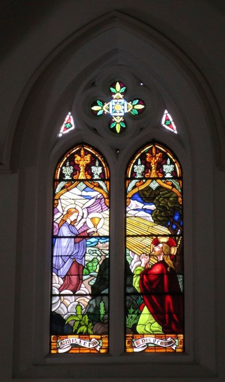One of the stained glass windows in the church