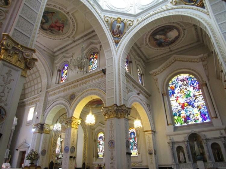 Inside Iglesia Nuestra Señora del Rosario showing some of the artwork