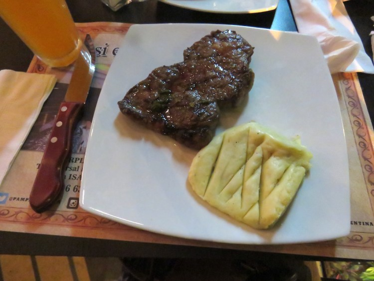 The imported New York steak