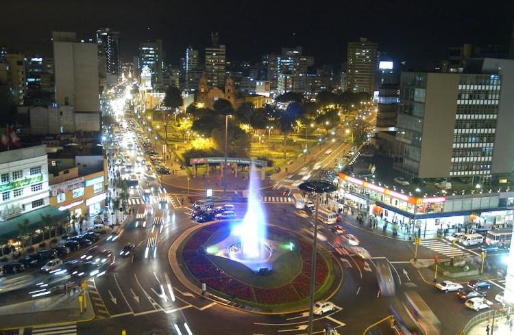 Miraflores neighborhood in Lima at night