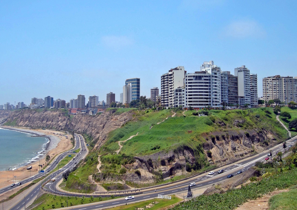 Miraflores in Lima from the coast, photo by David Baggins