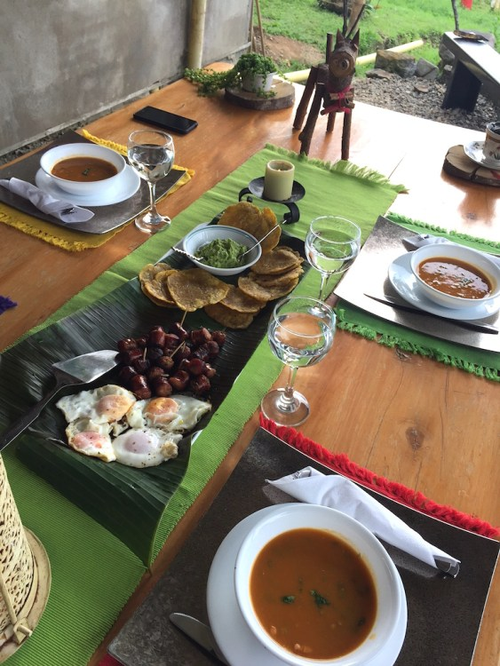 The first course of lunch at Finca Los Angeles, a small coffee farm open for tours
