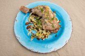 Friday dinner. Roast chicken maryland and fried nutty cabbage.