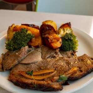 Friday lunch. Roast lamb and vegetables sans gravy.