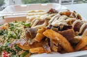Friday lunch. Shaved lamb with aioli, tabouli and hot chips.