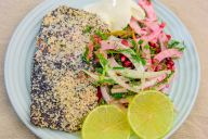 Monday dinner. Baked seeded salmon and fennel salad with Australian finger lime caviar and pomegranate arils. I rubbed the salmon with olive oil and then coated it with poppy and sesame seeds and baked for 15 minutes at 200°C/400°F.