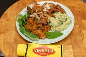 Saturday dinner. Leftover KFC with basil celeriac mash plus sweet potato and pumpkin mash.