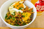 Saturday lunch. Baked Spam fried cauliflower rice with a fried egg.