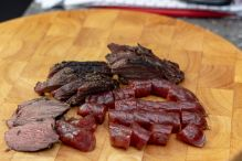 Sliced sous vide kangaroo and lup cheong