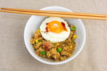 Sunday breakfast. Spam fried cauliflower rice with a fried egg.