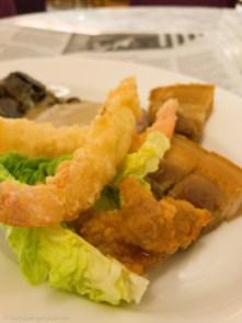 Tuesday dinner. Buffet belly pork and tempura prawns.