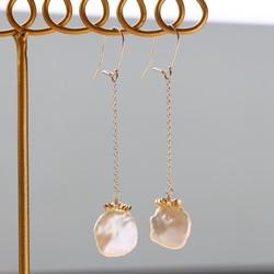 14kgf-Keshi pearl & Karen hill silver耳針/可換耳夾(Plz let me know 耳環 A.N 的作品 Creemaー來自日本的手作・設計購物網站