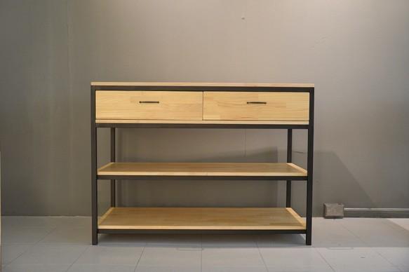 工業風雙開抽屜_收納三層置物櫃 櫃子・架子 銳龍工藝 的作品|Creemaー來自日本的手作・設計購物網站