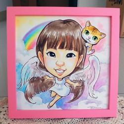 {似顏繪}水彩手繪漫畫人像_單人全身造型(含相框) 插畫 Julia 的作品 Creemaー來自日本的手作・設計購物網站