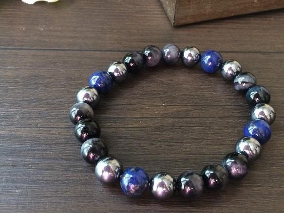 16厘米青金石和藍虎眼的有趣健康手鍊 手鍊・手環(男士) Lien 的作品|Creemaー來自日本的手作・設計購物網站
