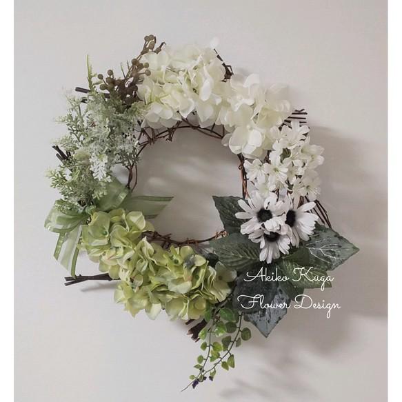 セブングルーピングリース(グリーン&ホワイト) 花藝・盆栽 ...