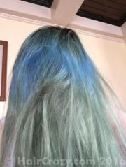 purple dye over faded blue green