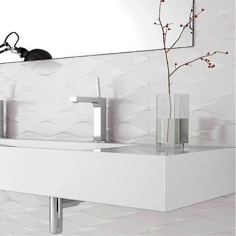 Carrelage De Salle De Bains Blanc Mur Et Sol Reflex Boutique