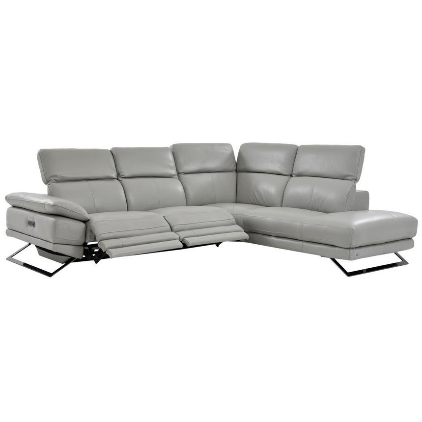 Toronto Light Gray Power Motion Leather Sofa wRight