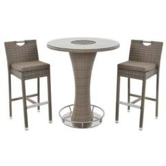 3 Piece Outdoor Table And Chairs Antique Cane Seat Dining Furniture Sets El Dorado Neilina Brown Patio Set W Ice Bucket
