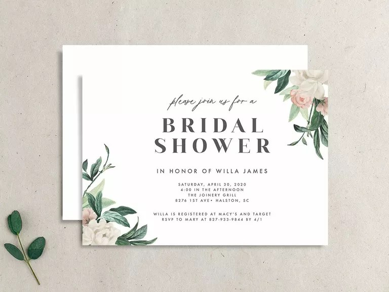 It bears an image of a woman in her bridal dress and is available in 5 different beautiful colors. 30 Affordable Bridal Shower Invitations For Any Theme