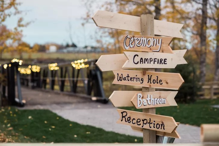 rustic wooden directional sign