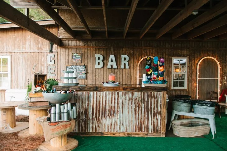 rustic wood bar setup