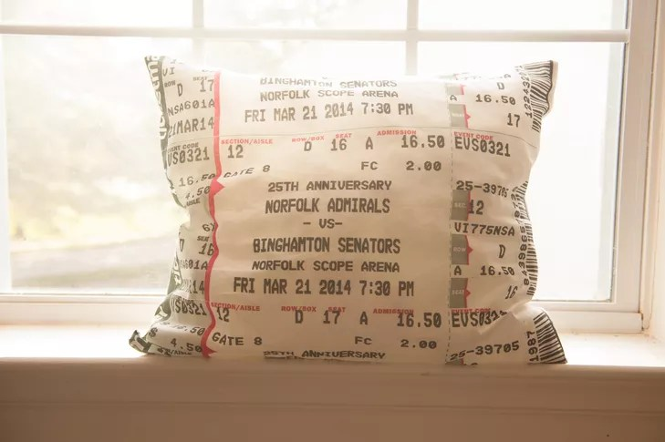 commemorative pillow with ticket