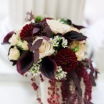 Burgundy Calla Lily Dahlia And Amaranthus Bridal Bouquet