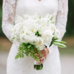 Neutral White And Green Bridal Bouquet