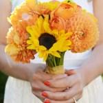 Sunflower Rose And Dahlia Bridal Bouquet