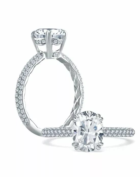 A.JAFFE Quilted Pave Oval Diamond Center Engagement Ring