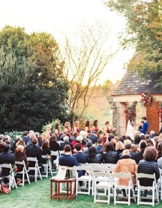 Outdoor wedding ceremony under rustic gazebo also seating basics where to seat guests at rh theknot